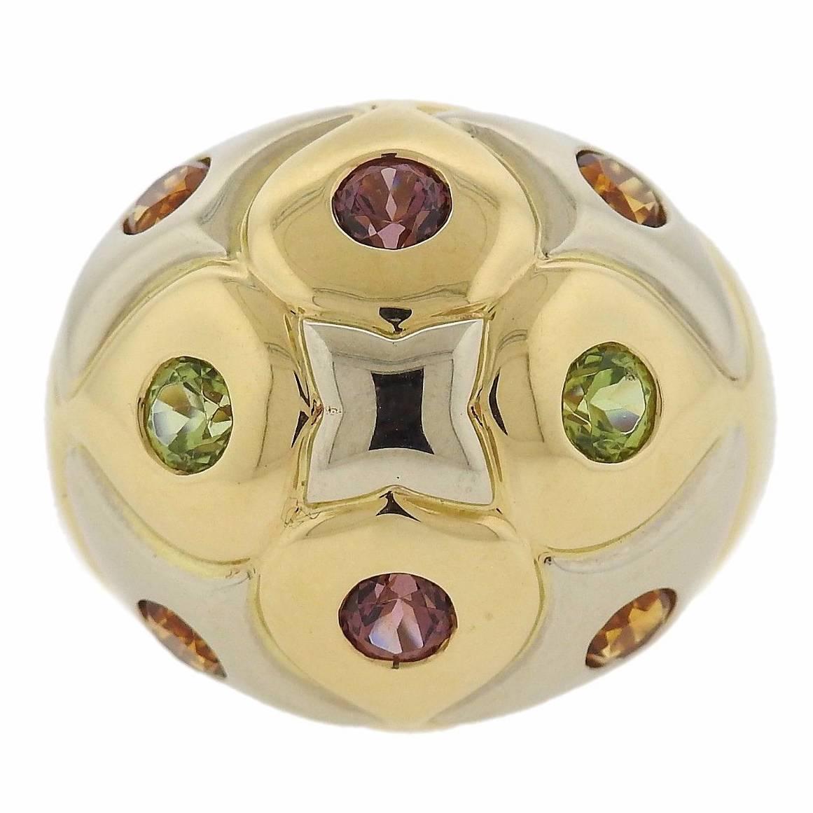 Bulgari Allegra Multicolor Gemstone Diamond Gold Ring at 1stdibs