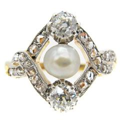 Belle Epoque French Diamond Pearl Gold Platinum Ring