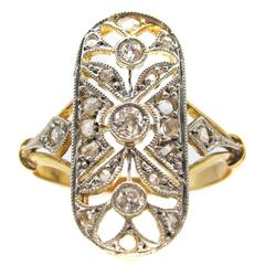 Belle Epoque French Diamond Gold Platinum Ring