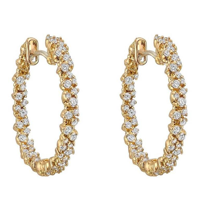 Paul Morelli Small Pink Gold Diamond Confetti Hoop Earrings For