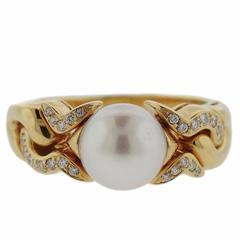 Classic Bulgari Pearl Diamond Gold Ring