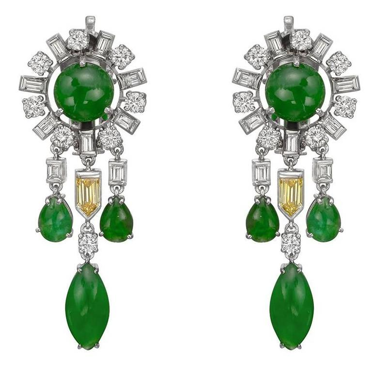 Jade Multicolored Diamond Chandelier Earrings For Sale