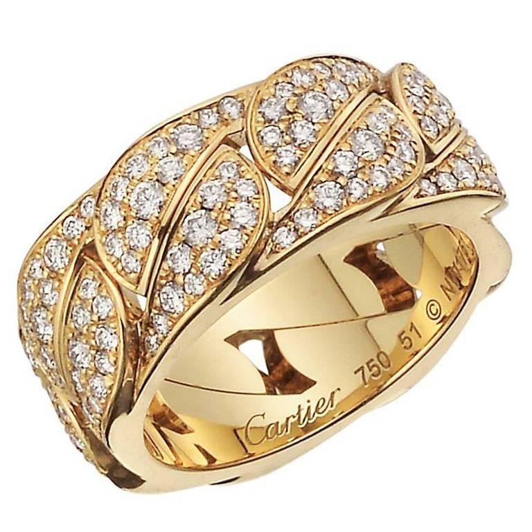 Cartier Diamond Yellow Gold La Dona Band Ring For Sale