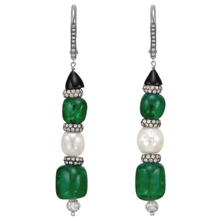 Emerald Natural Pearl Diamond Drop Earrings