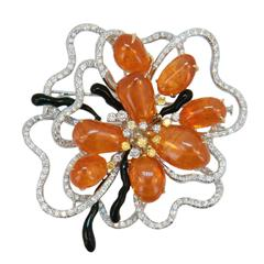 Laura Munder Mandarin Garnet Yellow White Diamond White Yellow Gold Brooch