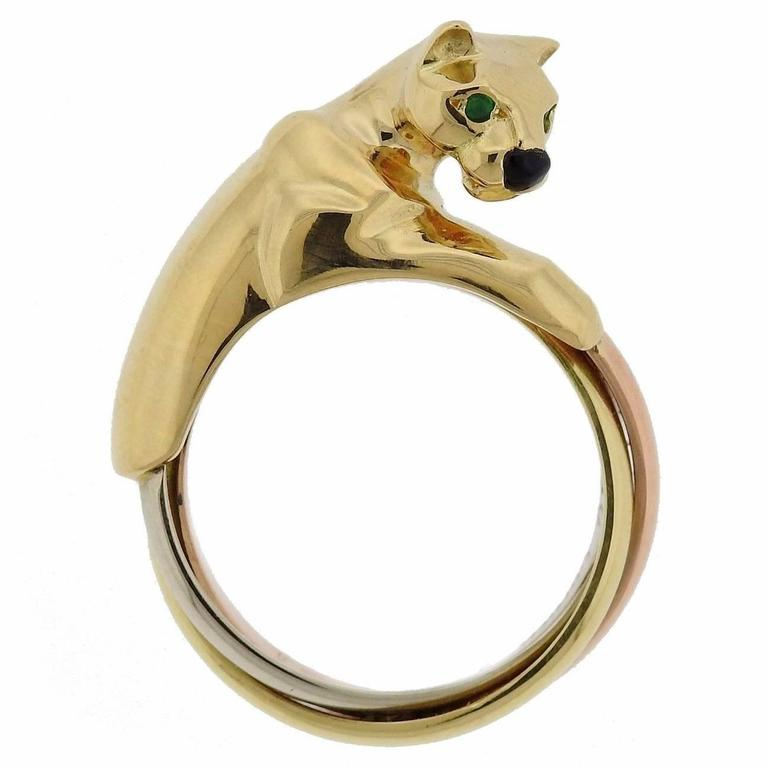 Cartier Panthere Onyx Emerald Gold Ring 1