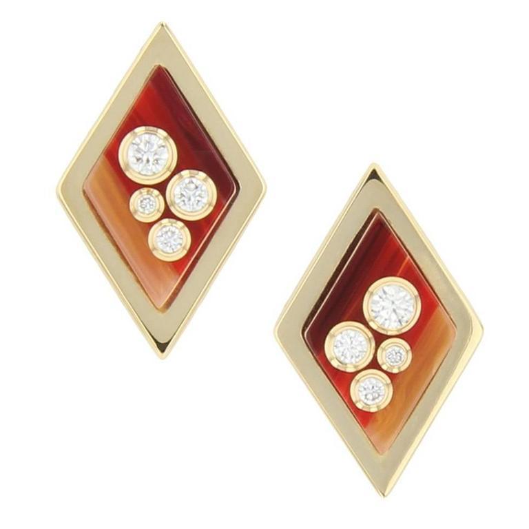 Kite-shaped Bakelite, diamond and yellow gold stud earrings