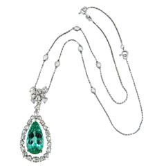 Laura Munder Mint Green Tourmaline Rose Cut Diamonds White Gold Necklace