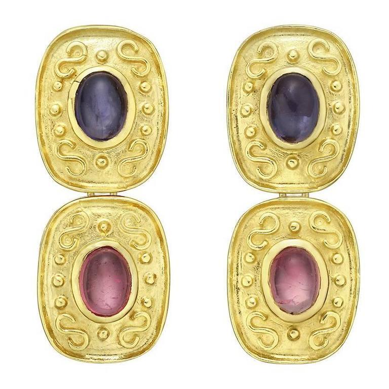 Tourmaline Iolite Gold Drop Earrings