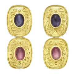 Tourmaline Iolite Gold Drop Earrings