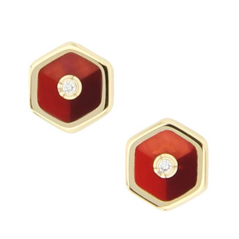 Bakelite, diamond and yellow gold stud earrings