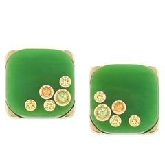 Mark Davis Bakelite Garnet Peridot Yellow Sapphire Yellow Gold Stud Earrings