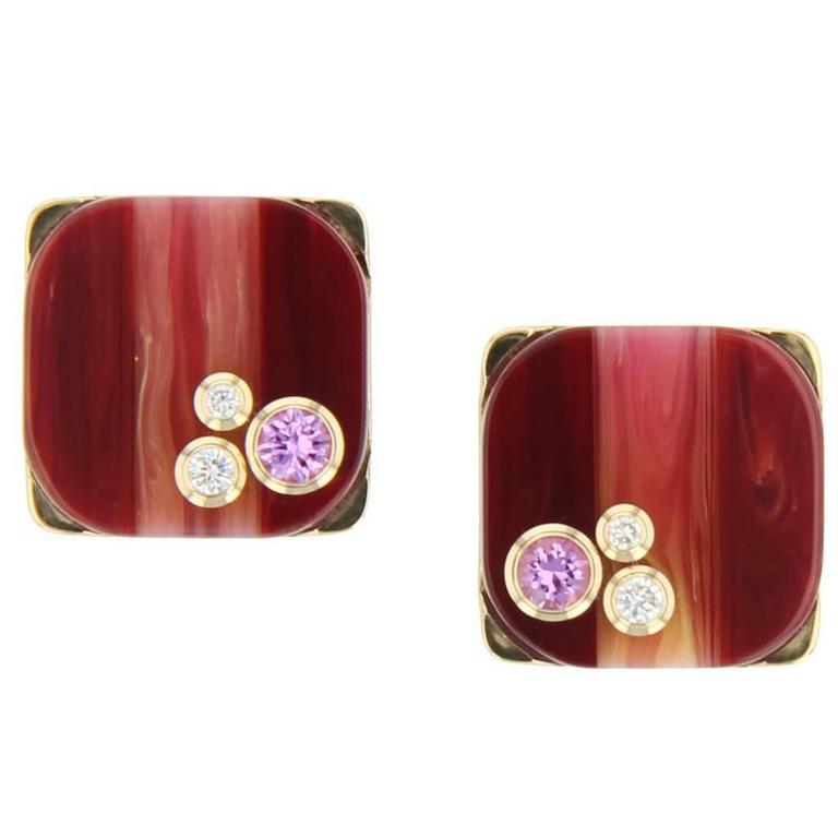 Mark Davis Laminated Bakelite Diamond Pink Sapphire Yellow Gold Earrings For Sale