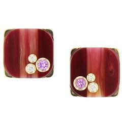 Mark Davis Laminated Bakelite Diamond Pink Sapphire Yellow Gold Earrings