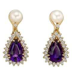 Amethyst Diamond Pearl Drop Earrings