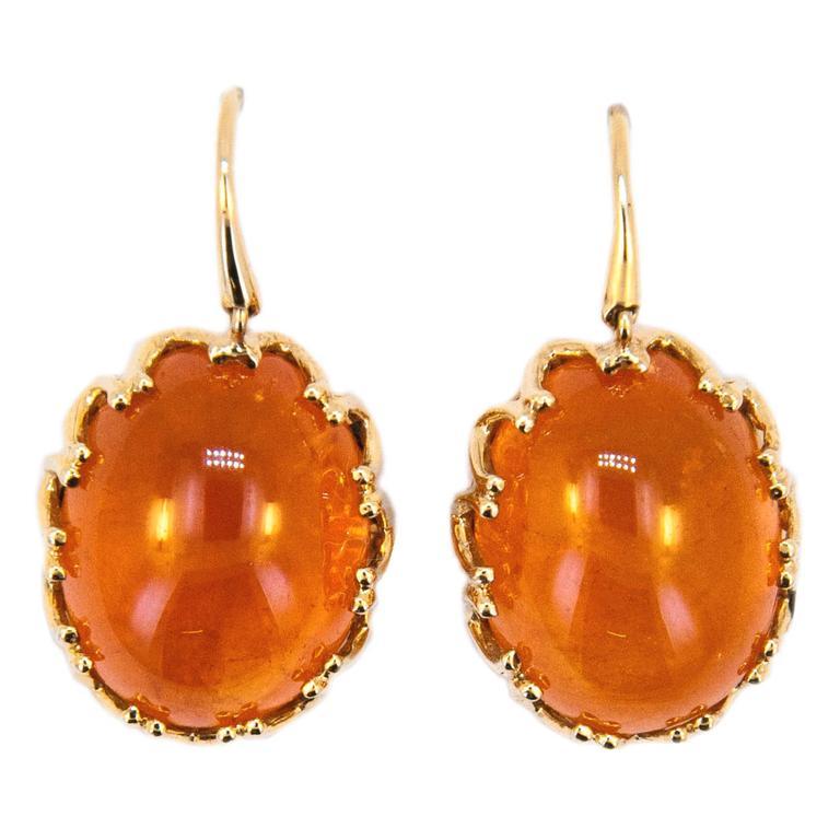 Laura Munder Mandarin Garnet Cabochon Yellow Gold Earrings