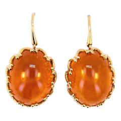 Laura Munder Mandarin Garnet Cabochon Yellow Gold Earrings