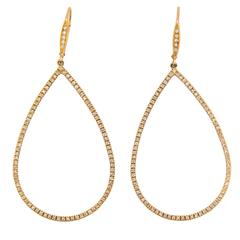 Laura Munder Diamond Drop Yellow Gold Leverback Earrings