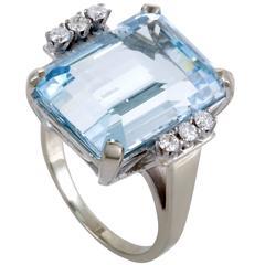 Aquamarine Diamond White Gold Ring