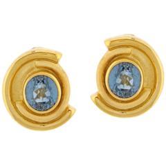 Burle Marx Blue Topaz Gold Earrings