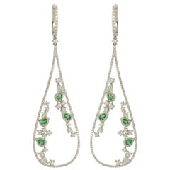 Emerald Diamond Loop Earring