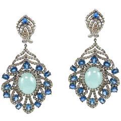 Aquamarine Blue Sapphire Diamond Hanging Earring