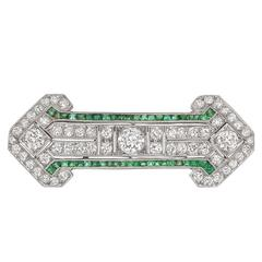 Art Deco Emerald Diamond Bar Pin