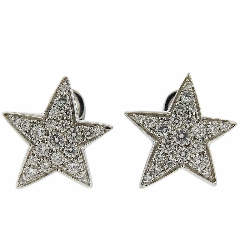 Chanel Comete Gold Diamond Star Earrings For Sale