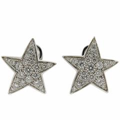 Chanel Comete Gold Diamond Star Earrings