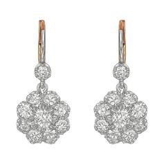 Old Mine Diamond Platinum Drop Earrings