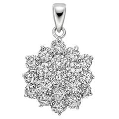 Diamond Platinum Cluster Pendant