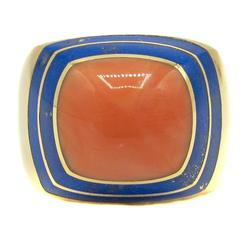 1980s Coral Lapis Lazuli  Gold Ring