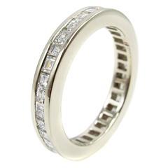 Square Stepcut Diamond White Gold Eternity Band Ring