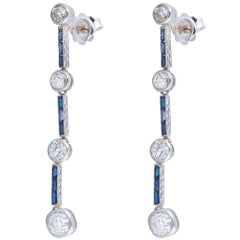 1920s Diamond Sapphire Platinum Drop Earrings