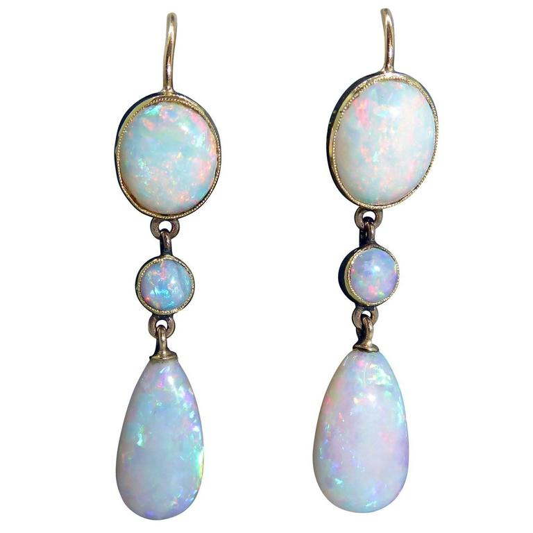 Vintage Opal Earrings Edwardian Art Nouveau 15 Carat Gold Circa 1900 1910