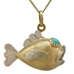 1950s Italian Turquoise Yellow Gold 'Fish' Pendant