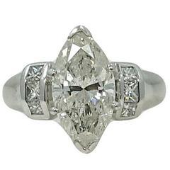 Platinum 3.92 Carat  Marquise Diamond Engagement Ring