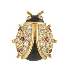 Piaget Diamond Gold Ladybird Brooch