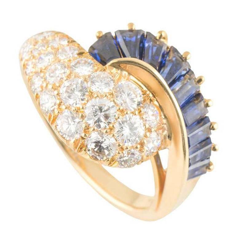 Oscar Heyman Diamond Sapphire Ring 1.19 Carat