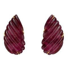 Carved Pink Tourmaline Wing Earclips