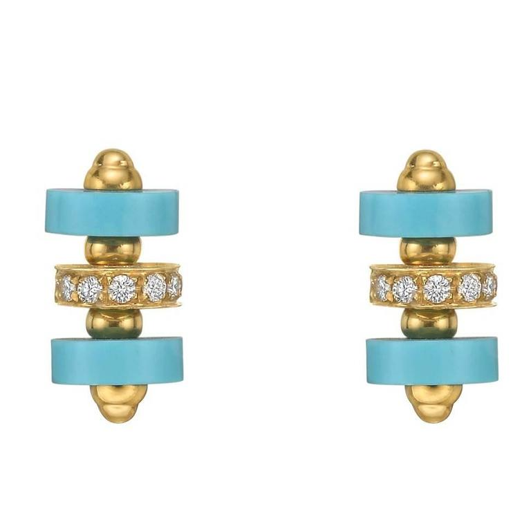 Garrard Turquoise Diamond Stud Earrings 1