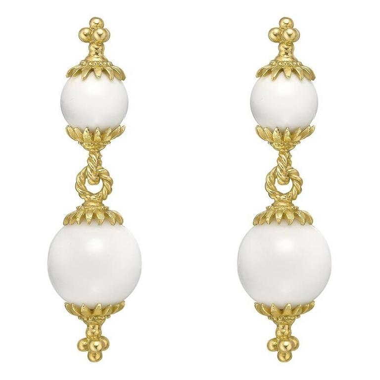 Bielka Yellow Gold White Coral Double Drop Earrings