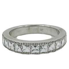 18 Karat White Gold Half Way Bamboo Diamond Band Ring