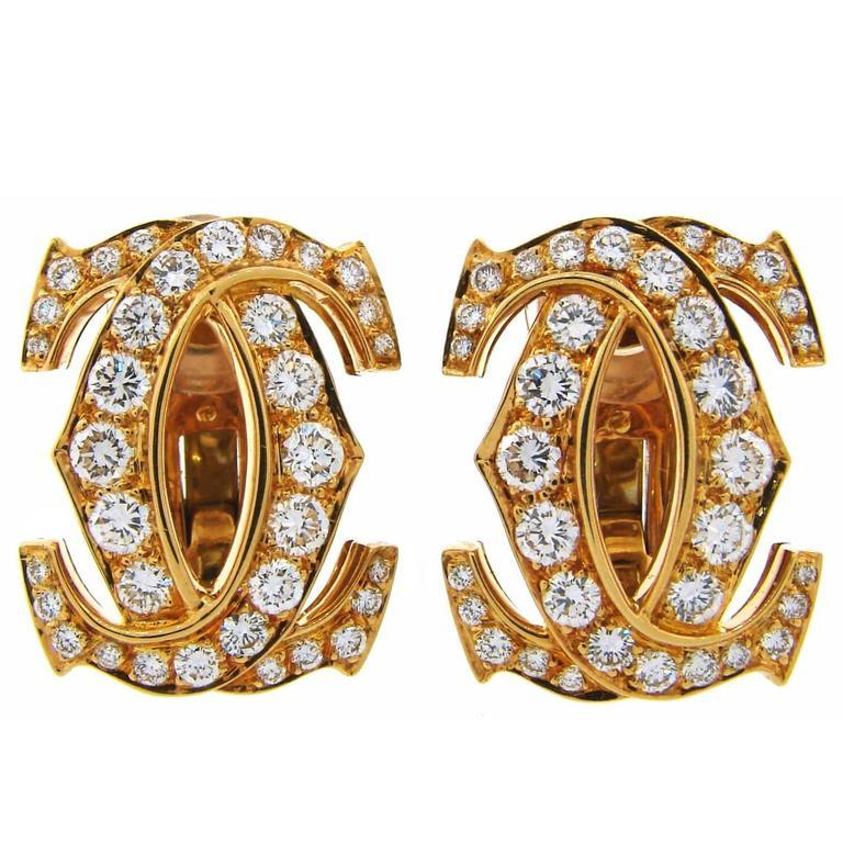 Cartier Double C Diamond Yellow Gold Earrings