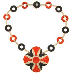 1970s Mediterranean Coral Black Onyx Diamond Yellow Gold Necklace