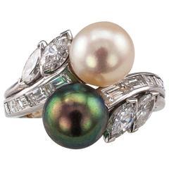 Gubelin Ying-Yang Pearl Diamond Platinum Bypass Ring 1950s