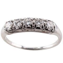 1950s Five-Stone Diamond White Gold Wedding Band Ring