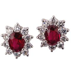 Ruby Diamond White Gold Cluster Earrings