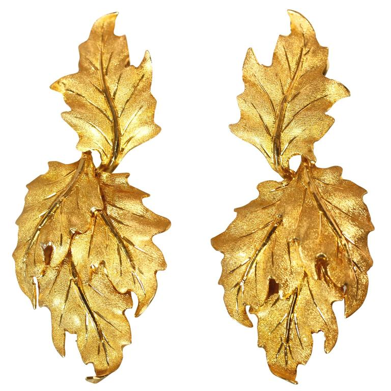 Buccellati Gold Leaf Pendant Earclips For Sale