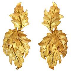 Buccellati Gold Leaf Pendant Earclips